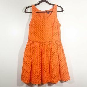 Old Navy Orange Sleeveless Fit & Flare Dress Sz 6